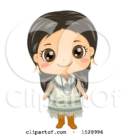 Clipart of a Happy Apache Native American Girl - Royalty Free Vector Illustration by BNP Design Studio