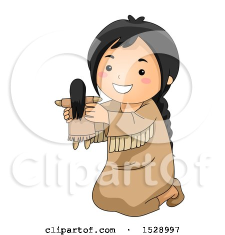 Clipart of a Happy Native American Girl Holding a Doll - Royalty Free Vector Illustration by BNP Design Studio