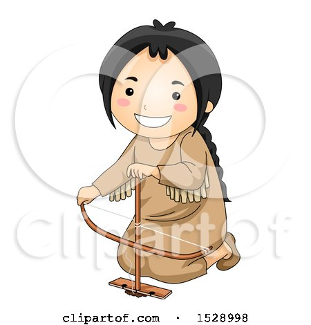 Clipart of a Happy Native American Girl Making Fire with a Bow Drill - Royalty Free Vector Illustration by BNP Design Studio
