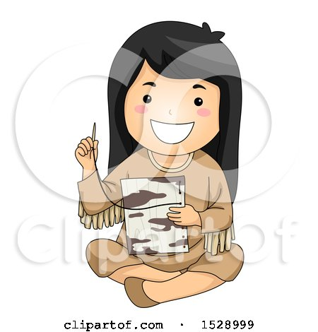 Clipart of a Happy Native American Girl Stitching Together Birch Bark - Royalty Free Vector Illustration by BNP Design Studio
