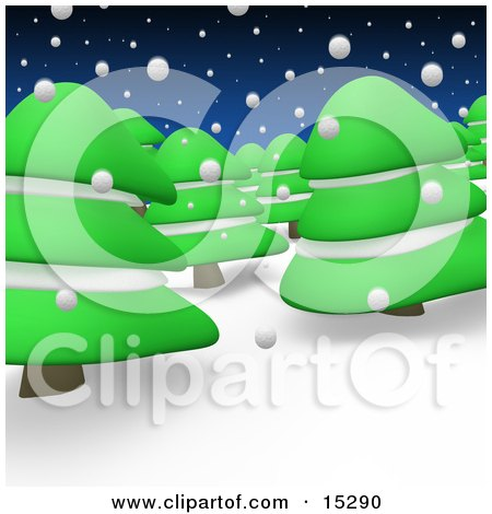 Forest Of Evergreen Trees Under Snowfall In The Winter Clipart Illustration Image by 3poD
