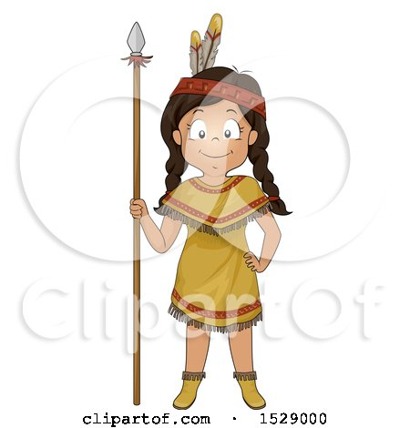 Clipart of a Happy Native American Girl with a Hunting Spear - Royalty Free Vector Illustration by BNP Design Studio