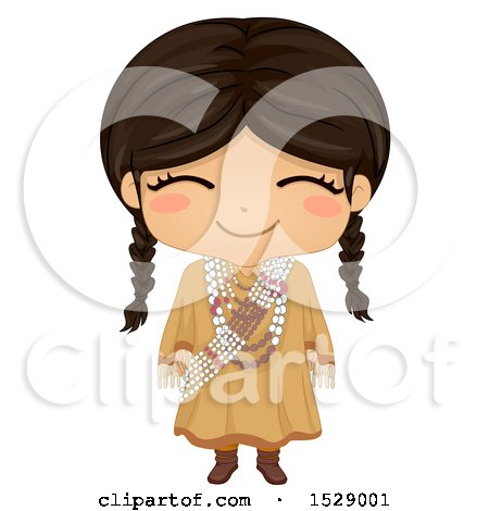 Clipart of a Happy Sioux Native American Girl - Royalty Free Vector Illustration by BNP Design Studio