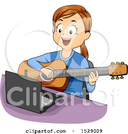 Clipart of a Girl Taking Guitar Lessons Online - Royalty Free Vector Illustration by BNP Design Studio