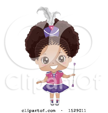 Clipart of a Cute Black Majorette Girl Holding a Baton - Royalty Free Vector Illustration by BNP Design Studio
