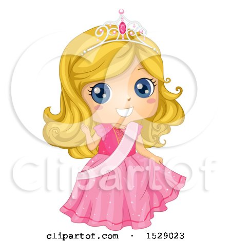 Clipart of a Blond Princess Girl Wearing a Pink Gown and Sash - Royalty Free Vector Illustration by BNP Design Studio