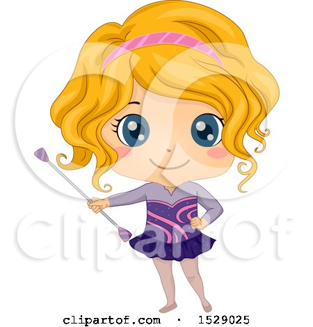 Clipart of a Girl Twirling a Baton - Royalty Free Vector Illustration by BNP Design Studio