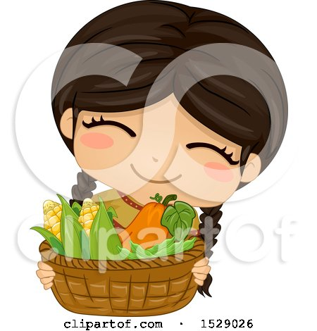 Clipart of a Happy Native American Girl Holding a Basket of Vegetables - Royalty Free Vector Illustration by BNP Design Studio