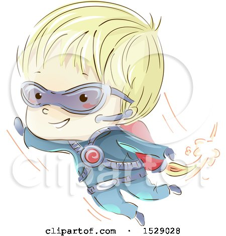 Clipart of a Sketched Secret Agent Boy Flying with a Jet Pack - Royalty Free Vector Illustration by BNP Design Studio