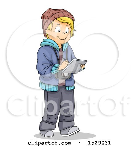 Clipart of a Blond Boy Taking Notes and Wearing a Camera - Royalty Free Vector Illustration by BNP Design Studio