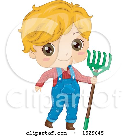 Clipart of a Country Farmer Boy Holding a Rake - Royalty Free Vector Illustration by BNP Design Studio