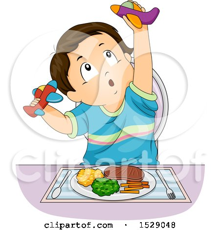 Clipart of a Toddler Boy Playing with Airplanes Instead of Eating His Food - Royalty Free Vector Illustration by BNP Design Studio