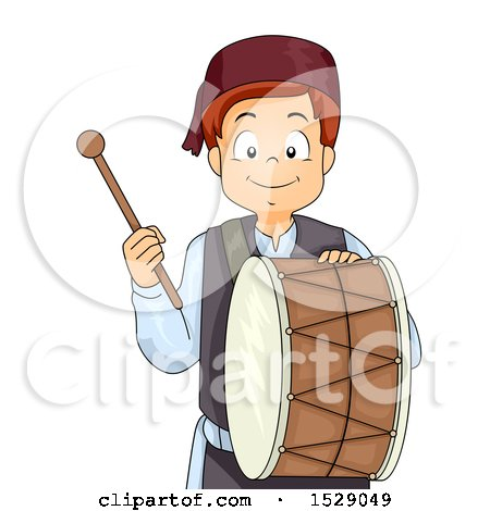 Clipart of a Muslim Boy with a Ramadan Drum - Royalty Free Vector Illustration by BNP Design Studio