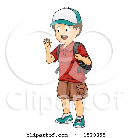 Clipart of a Boy Waving and Wearing a Backpack - Royalty Free Vector Illustration by BNP Design Studio