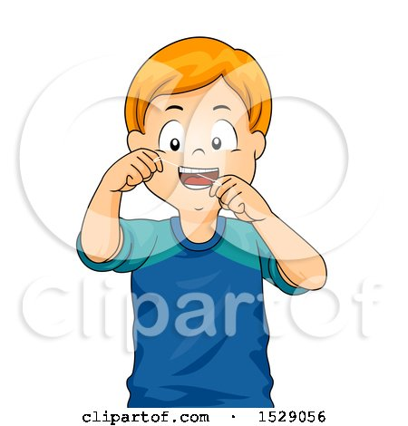 Clipart of a Happy Boy Flossing His Teeth - Royalty Free Vector Illustration by BNP Design Studio