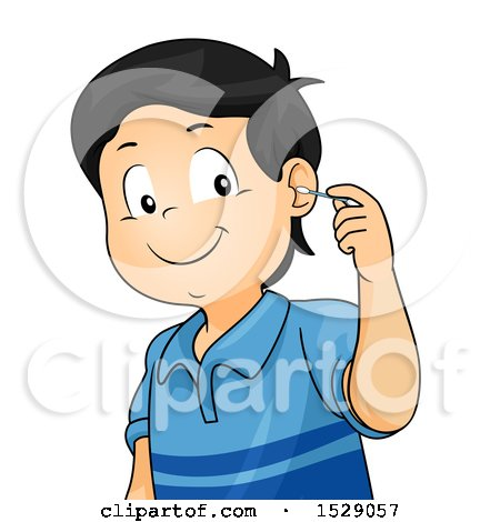 clipart of a boy cleaning his ear with a cotton swab. Black Bedroom Furniture Sets. Home Design Ideas