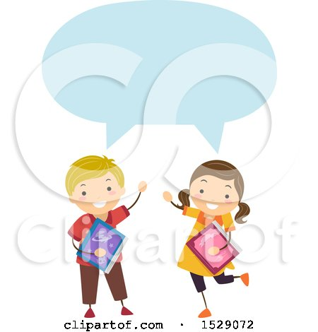 Clipart of a Boy and Girl Holding School Books and Talking - Royalty Free Vector Illustration by BNP Design Studio