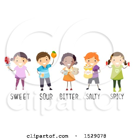 Clipart of a Group of Children with Sweet, Sour, Bitter, Salty and Spicy Foods - Royalty Free Vector Illustration by BNP Design Studio