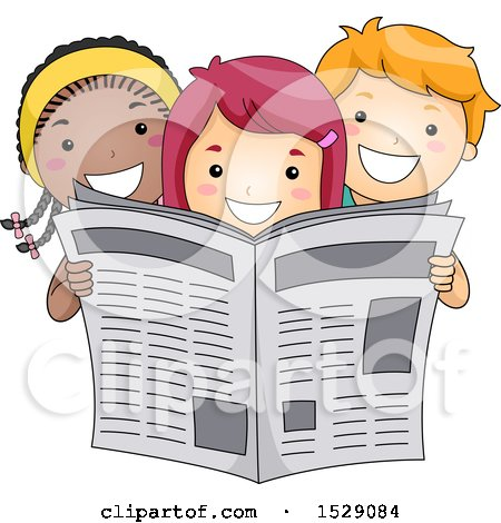 Clipart of a Group of Happy Children Reading a Newspaper - Royalty Free Vector Illustration by BNP Design Studio