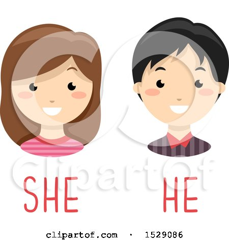 Clipart of a Boy and Girl over He and She Gender Text - Royalty Free Vector Illustration by BNP Design Studio
