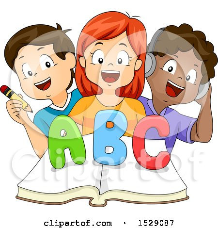 Clipart of a Group of School Children Writing, Reading and Listening to the Alphabet over a Book - Royalty Free Vector Illustration by BNP Design Studio