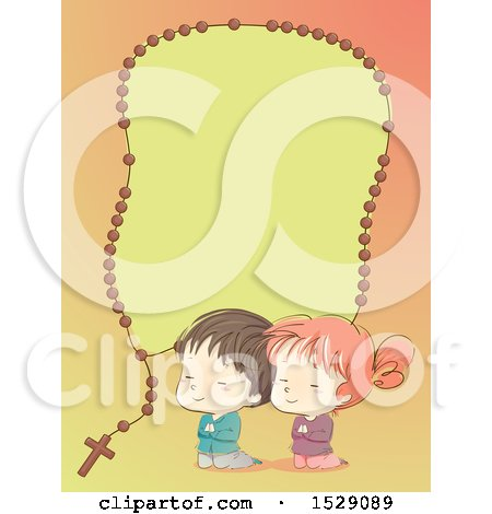 Clipart of a Sketched Boy and Girl Praying Under a Rosary Border - Royalty Free Vector Illustration by BNP Design Studio