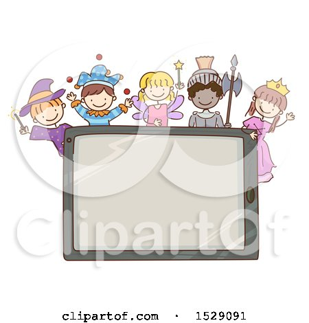Clipart of a Sketched Computer Tablet with Children in Fairy Tale Costumes - Royalty Free Vector Illustration by BNP Design Studio