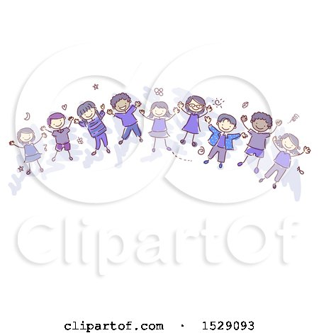 Clipart of a Sketched Group of Children Wearing Indigo - Royalty Free Vector Illustration by BNP Design Studio