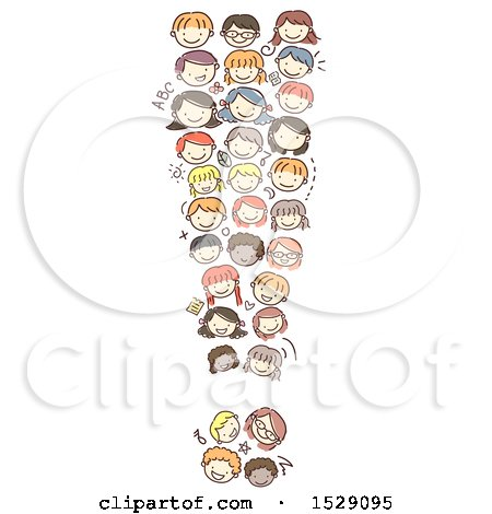 Clipart of a Sketched Exclamation Point of Child Faces - Royalty Free Vector Illustration by BNP Design Studio