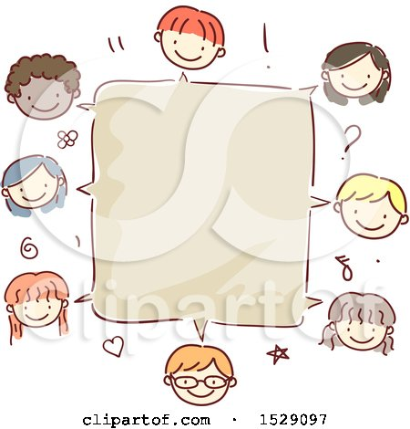 Clipart of a Blank Speech Box Bordered with Faces of Children - Royalty Free Vector Illustration by BNP Design Studio