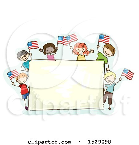 Clipart of a Sketched Group of Children Waving American Flags Around a Sign - Royalty Free Vector Illustration by BNP Design Studio