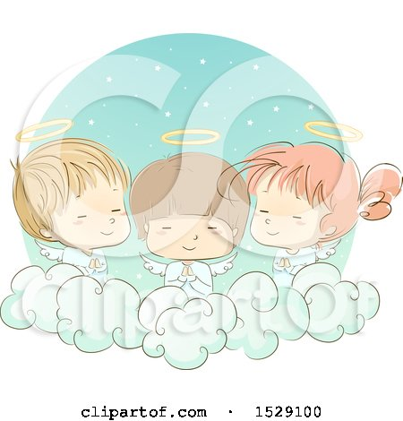 Clipart of a Sketched Group of Angel Children Praying on a Cloud - Royalty Free Vector Illustration by BNP Design Studio