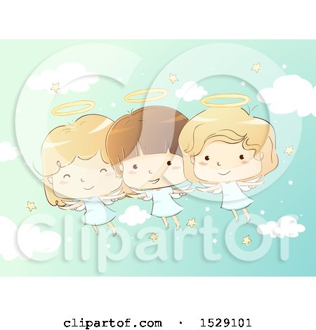 Clipart of a Sketched Group of Angel Children in a Starry Sky - Royalty Free Vector Illustration by BNP Design Studio