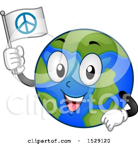 Clipart of a Globe Earth Character Holding a Peace Flag - Royalty Free Vector Illustration by BNP Design Studio