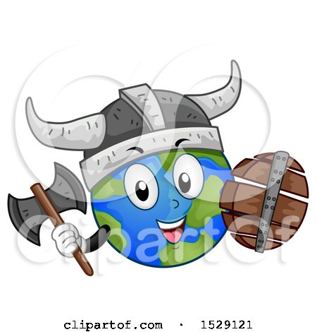 Clipart of a Globe Earth Viking Character with a Shield and Axe - Royalty Free Vector Illustration by BNP Design Studio