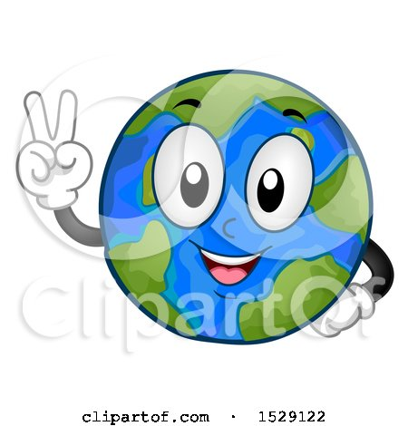 Clipart of a Globe Earth Character Gesturing Peace - Royalty Free Vector Illustration by BNP Design Studio