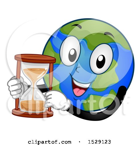 Clipart of a Globe Earth Character Holding an Hourglass - Royalty Free Vector Illustration by BNP Design Studio