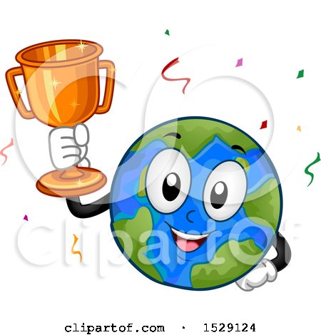 Clipart of a Globe Earth Character Holding a Trophy - Royalty Free Vector Illustration by BNP Design Studio