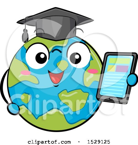 Clipart of a Globe Earth Graduate Character Holding a Tablet - Royalty Free Vector Illustration by BNP Design Studio