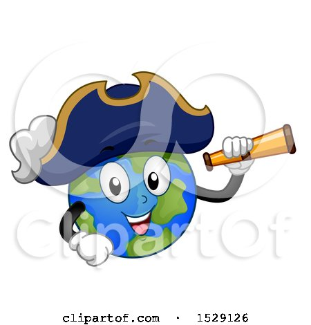 Clipart of a Globe Earth Captain Pirate Character Holding a Telescope - Royalty Free Vector Illustration by BNP Design Studio