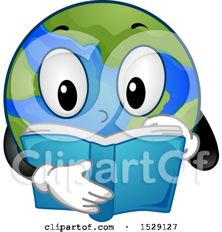 Clipart of a Globe Earth Character Reading - Royalty Free Vector Illustration by BNP Design Studio