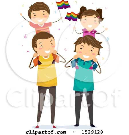 Clipart of Happy Children Waving Lgbtq Rainbow Flags While Sitting on Shoulders of Their Dads - Royalty Free Vector Illustration by BNP Design Studio
