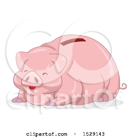 Clipart of a Happy Fat Piggy Bank - Royalty Free Vector Illustration by BNP Design Studio