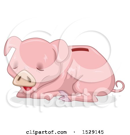 Clipart of a Starving or Sick Piggy Bank - Royalty Free Vector Illustration by BNP Design Studio