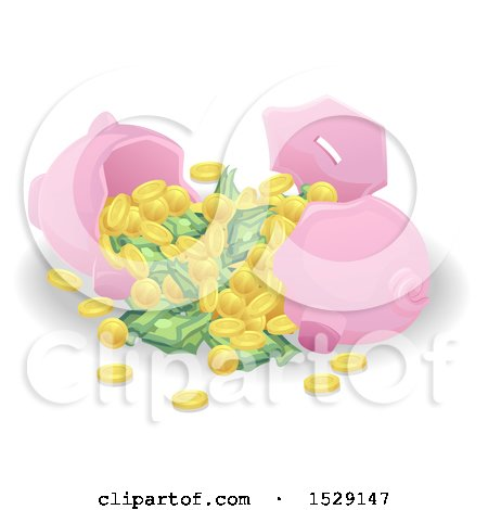 Clipart of a Cracked Open Piggy Bank with Cash and Coins - Royalty Free Vector Illustration by BNP Design Studio
