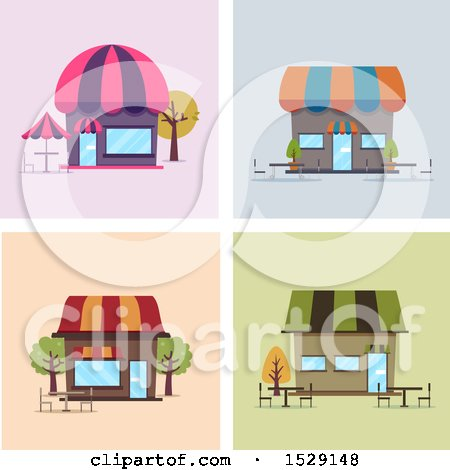 Clipart of Cafe Shop Storefronts with Outdoor Seating - Royalty Free Vector Illustration by BNP Design Studio