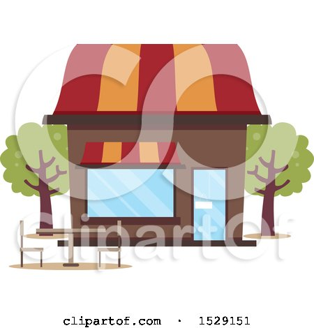 Clipart of a Cafe Shop Storefront with Outdoor Seating - Royalty Free Vector Illustration by BNP Design Studio