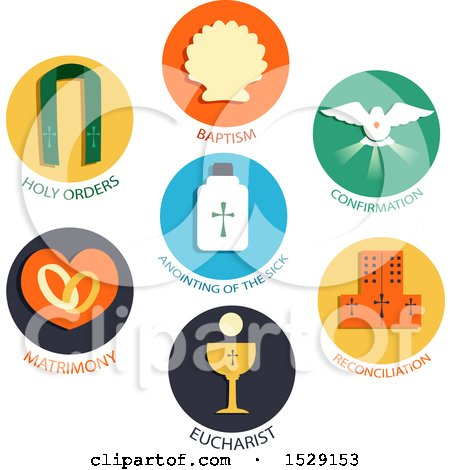 Clipart of Seven Sacraments Icons of a Catholic Church, Baptism, Confirmation, Eucharist, Penance, Anointing of the Sick, Holy Orders, Matrimony - Royalty Free Vector Illustration by BNP Design Studio