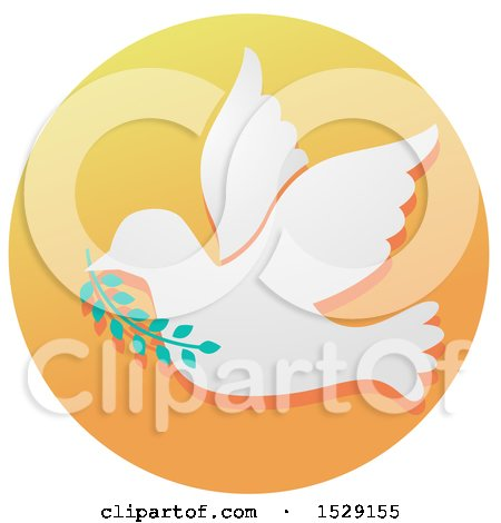 Clipart of a Dove of Peace Christian Icon on a Gradient Circle - Royalty Free Vector Illustration by BNP Design Studio