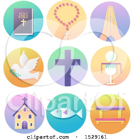 Clipart of Christian Icons on Gradient Circles, Bible, Rosary, Hand in Prayer, Dove, Cross, Eucharist, Church, Fish to Kneeling Bench - Royalty Free Vector Illustration by BNP Design Studio